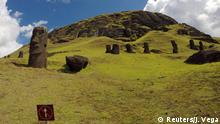 Statues named Moai are seen on a hill at Easter Island, Chile February 1, 2019. Picture taken February 1, 2019. REUTERS/Jorge Vega