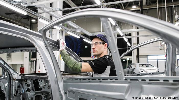 A Mercedes being built in a Russian factory
