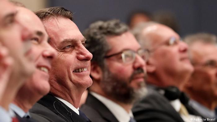 Brasiliens Präsident JBolsonaro com o ministro Araújo durante a visita a Israel