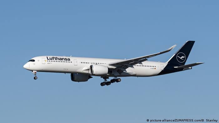 Пассажирский лайнер немецкой авикомпании Lufthasa