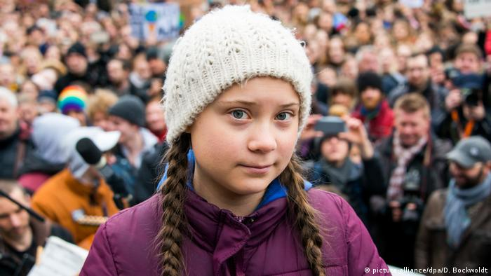 The Swedish climate activist Greta Thunberg at a Fridays for Future demonstration in Hamburg