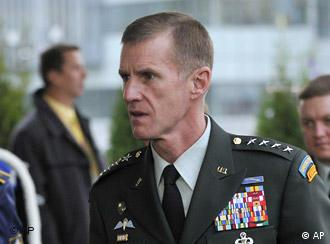 U.S. Military commander in Afghanistan General Stanley McChrystal, right, arrives to a round table meeting of NATO defense ministers in Bratislava, on Friday, Oct. 23, 2009. (AP Photo,CTK/Jan Koller) ***SLOVAKIA OUT***