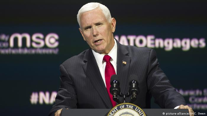USA, Washington: Mike Pence - NATO - Atlantischer Rat (picture-alliance/AP/C. Owen)