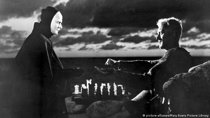 Still from the film The Seventh Seal with Max von Sydow as Knight Block and Bengt Ekerot
