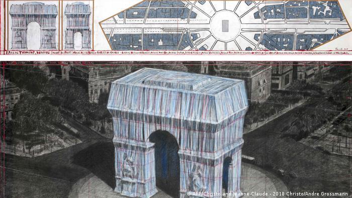 Триумфалната арка е един от символите на Париж. Под нея се намира Гробът на незнайния воин - в памет на загиналите през Първата световна война. 83-годишният Кристо възнамерява да опакова арката през април 2020 в 25 000 кв.м. сребърно-син плат и 7000 метра червено въже. Тогава Триумфалната арка би трябвало да изглежда като този модел.
