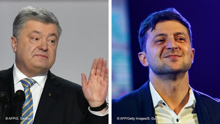 Кандидати Петро Порошенко (л) та Володимир Зеленський