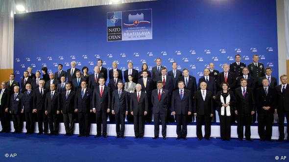 NATO Secretary General Anders Fogh Rasmussen, and defense ministers at their summit in Bratislava last year