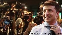 31.03.2019, Ukraine, Kiew: KIEV, UKRAINE - MARCH 31, 2019: Candidate Volodymyr Zelensky at his campaign office in Kiev after the first round of the 2019 Ukrainian presidential election. Pyotr Sivkov/TASS Foto: Pyotr Sivkov/TASS/dpa |
