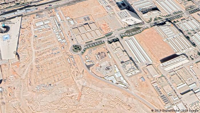 Imagem de satélite mostra as obras do reator, localizado na chamada Cidade para Ciência e Tecnologia Rei Abdulaziz, na periferia de Riad