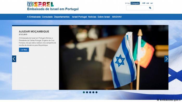 Screenshot von der Botschaft Israels in Lisboa (embassies.gov.il)