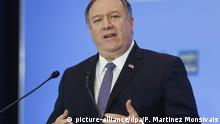 Secretary of State Mike Pompeo gestures while speaking during a news conference at the US State Department in Washington, Thursday, April 4, 2019. (AP Photo/Pablo Martinez Monsivais) |