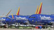 March 27, 2019 - Los Angeles, California, U.S - Southwest Airlines Boeing 737 Max 8 aircraft are parked at Southern California Logistics Airport on March 27, 2019 in Victorville, California |