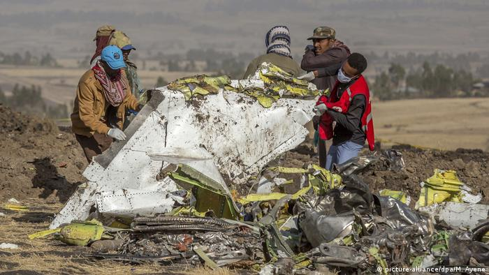 Plane wreckage of Boeing 737 Max in Ethiopia