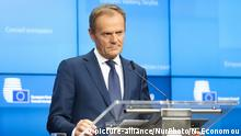 22.3.2019, Brüssel, Belgien, Donald Tusk the President of the European Council after the European Leaders summit meeting with the main topic discussions with Theresa May for an extension of Brexit, at a media briefing after midnight in Brussels, Belgium on March 21-22 2019.