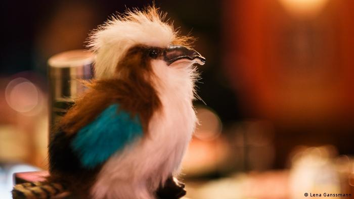 Auf der Theke des Kookaburra Comedy Clubs steht eine Figur des namensgebenden Vogels Kookaburra. (Lena Ganssmann)
