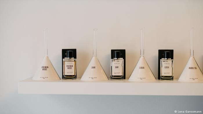 The scented candles are made by hand, and the glassware used for the perfume is poured by hand (Lena Ganssmann)