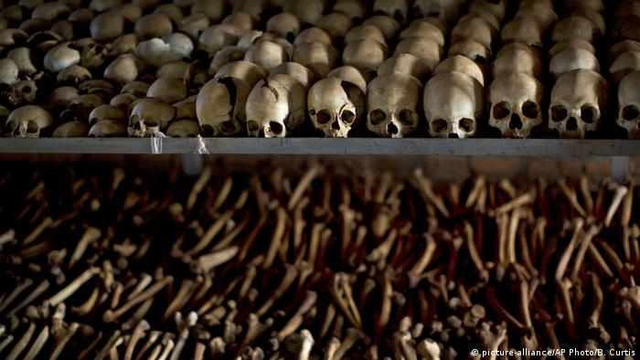 The skulls and bones of some of those who were slaughtered as they sought refuge inside the church are laid out as a memorial to the thousands who were killed in and around the Catholic church during the 1994 genocide in Ntarama, Rwanda