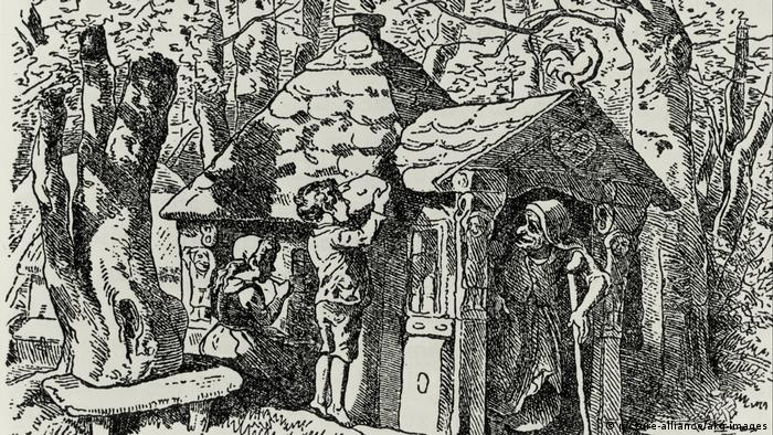 An illustration of Hansel and Gretel eating parts of a witch's house made of cake, sweets and treats as the witch comes out of the front door (Picture Alliance, AKG images)