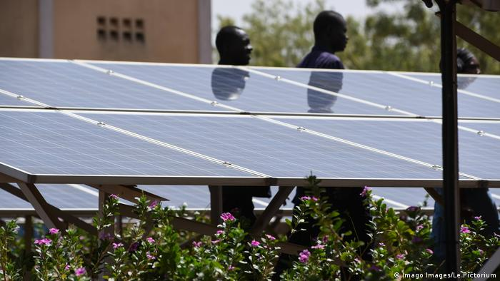 Solar panels in Mali. Photo credit: Imago Images/Le Pictorium.