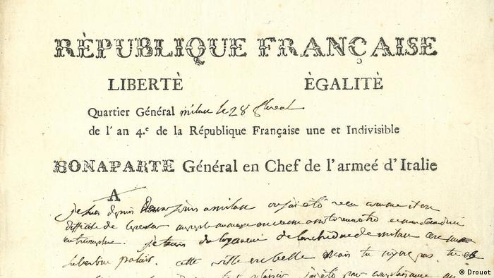 One of three love letters from Napoleon to his wife Josephine auctioned at Drouot in Paris on Thursda