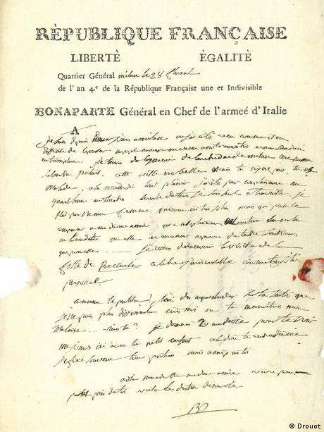 Napoleon's letter to his wife Josephine, written during his 1796 Italian campaign