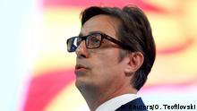 Stevo Pendarovski greets his supporters at party convention in Skopje, North Macedonia (Reuters/O. Teofilovski)