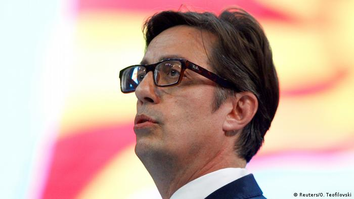 Stevo Pendarovski greets his supporters at party convention in Skopje, North Macedonia