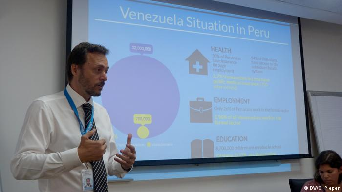 Federico Agusti durante una conferencia sobre refugiados venezolanos en Perú.