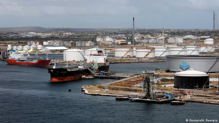 Crude oil tankers docked at a Isla Oil Refinery PDVSA terminal in Willemstad