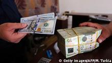 Libyen Dinar (lybanesische Währung) wird gegen Dollar gestauscht