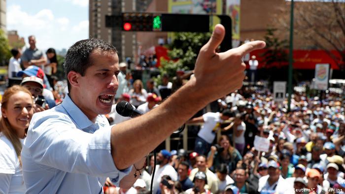 Juan Guaido at a rally in Caracas
