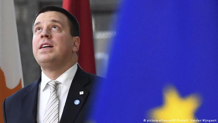 Estonian Prime Minister Juri Ratas arrives for an EU summit in Brussels
