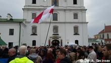 Weißrussland Minsk - Teilnehmer des Demos gegen Räumung der Gedenkstelle an Stalinopfer
