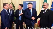 Italien, Palermo: Dmitry Medvedev, Khalifa Haftar, Donald Tusk