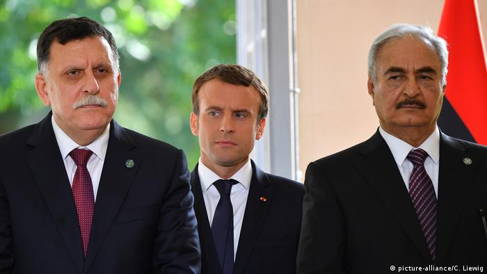 Emmanuel Macron, Fayez al-Sarraj and Khalifa Haftar