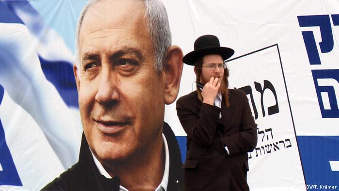 Cartaz da campanha do premiê israelense, Benjamin Netanyahu