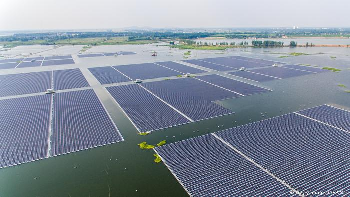 The world's largest floating solar power plant in a lake in Huainan, China