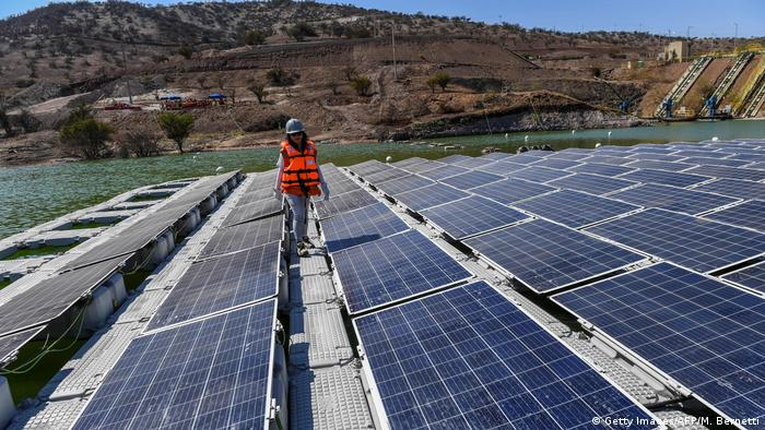 A floating solar plant in Chile