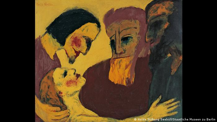 The Sinner - a painting of a woman and three man against a yellow background by Emil Nolde from 1926 (Nolde Stiftung Seebüll/Staatliche Museen zu Berlin)