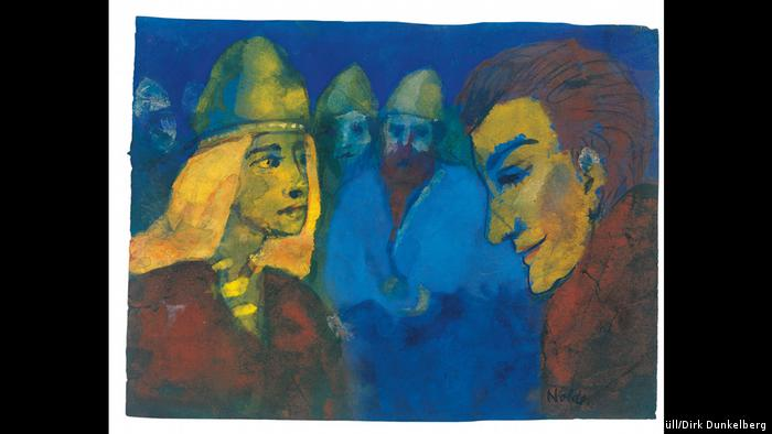 A painting titled Herrin und Fremdling or Mistress and Stranger by Emil Nolde. The date of the painting is unknown but it is believed to have been painted before 1938. (Nolde Stiftung Seebüll/Dirk Dunkelberg)