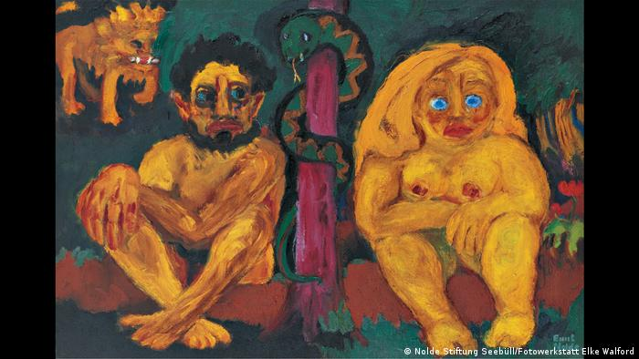 Nolde's oil painting Paradise Lost features a couple naked in a garden with a lion in the background, from 1921 (Nolde Stiftung Seebüll/Fotowerkstatt Elke Walford)