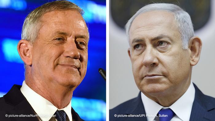 Бенни Ганц (слева) и Биньямин Нетаньяху - фавориты парламентских выборов в Израиле