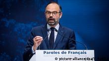 08.04.2019, ©Thomas Padilla/MAXPPP - 08/04/2019 ; Paris, FRANCE ; RESTITUTION DU GRAND DEBAT NATIONAL, AU GRAND PALAIS. EN PRESENCE DU PREMIER MINISTRE, EDOUARD PHILIPPE. - French Prime Minister speechs about Great Debate results. Foto: Thomas Padilla/MAXPPP/dpa |