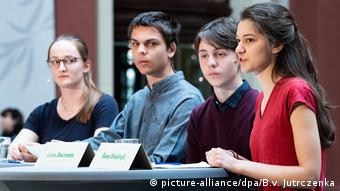 Representatives of Germany's Fridays for Future Movement present their goals to the government at Berlin's Museum for Natural History