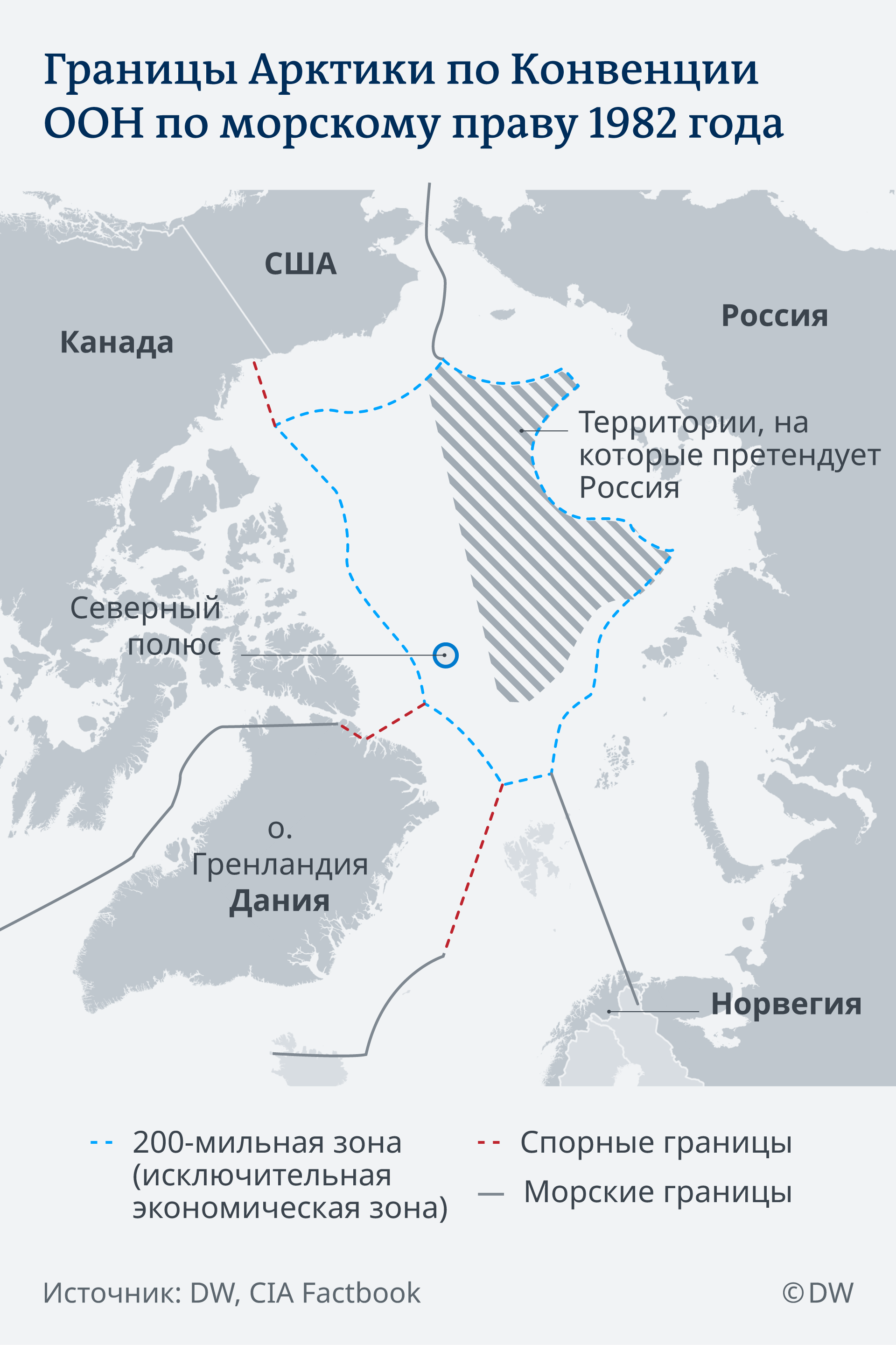 Инфографика: Границы Арктики согласно Конвенции ООН по морскому праву 1982 года