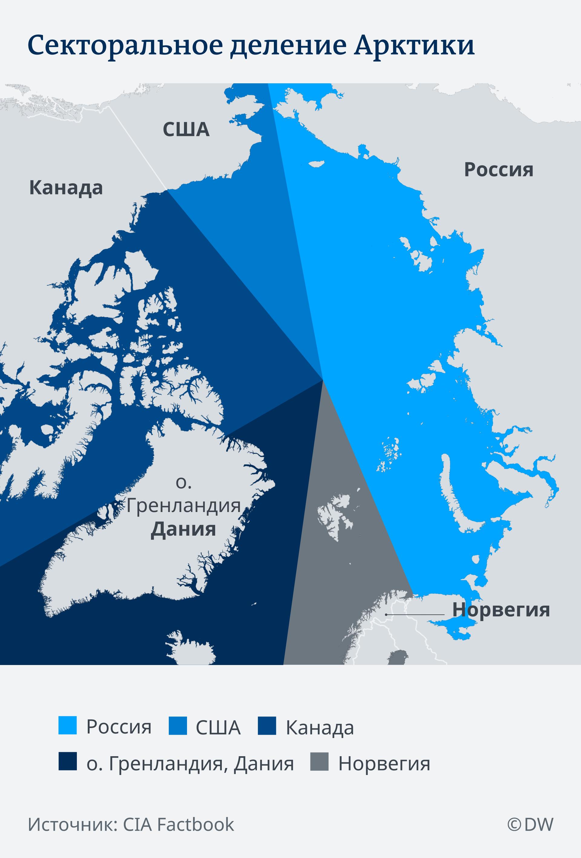 Инфографика: Секторальное деление Арктики