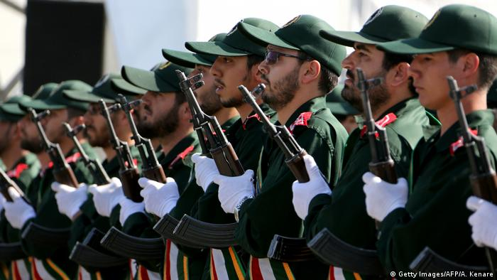 Soldiers from the Revolutionary Guards march march during the annual military parade marking the anniversary of the start of Iran's 1980-1988 war with Iraq