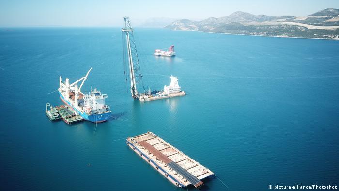 Kroatien Bau der Peljesac-Brücke