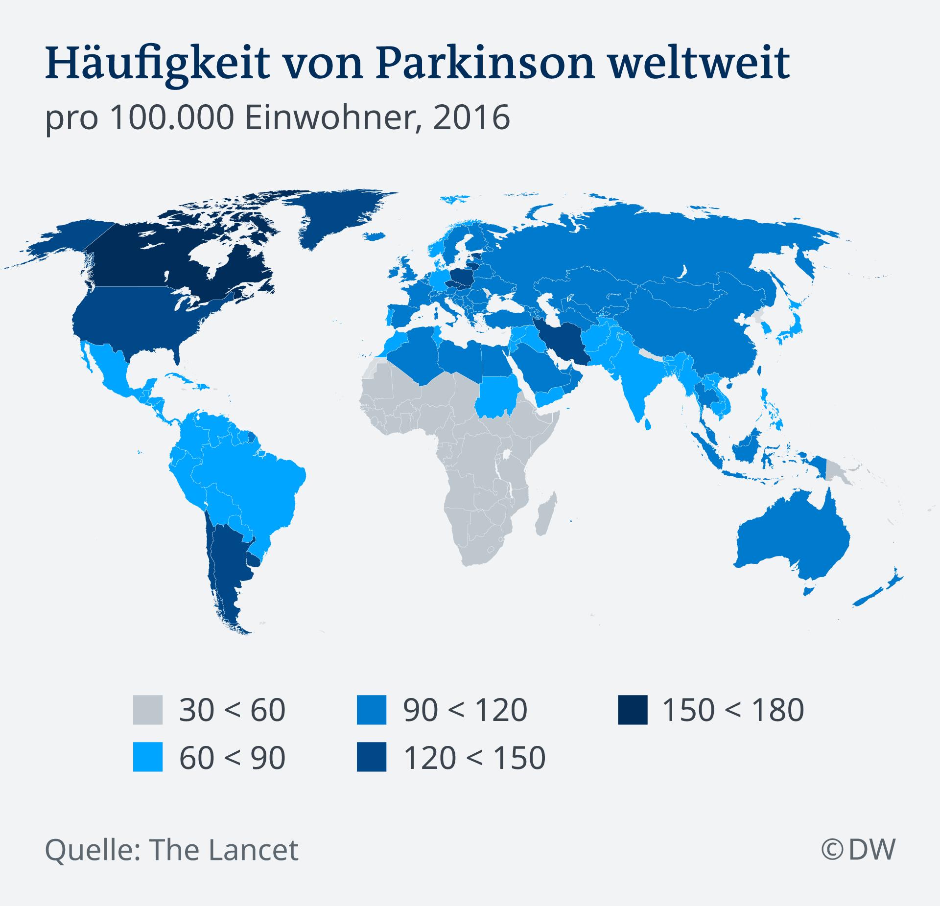 Infografik Karte Häufigkeit von Parkinson weltweit DE