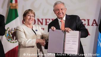 Mexiko Michelle Bachelet, UN-Menschenrechtskommissarin & Andres Manuel Lopez Obrador, Präsident Mexiko